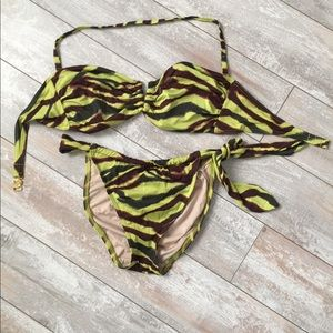🌼Victoria's Secret Green Lime Striped Bikini